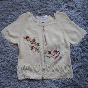 Dressbarn Embroidered Button Down Sweater Cute!!